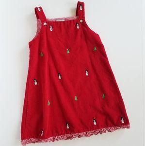 K&L Corduroy Red Christmas Print Overall Dress 3T